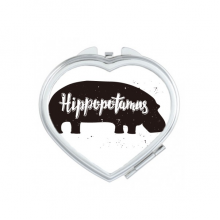 Hippopotamus Black And White Animal Heart Compact Makeup Pocket Mirror Portable Cute Small Hand Mirrors Gift