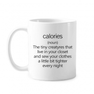 Black English Lose Weight Quote Classic Mug White Pottery Ceramic Cup Gift With Handles 350 ml