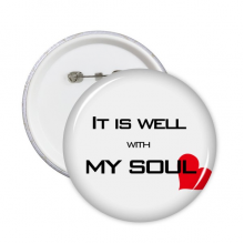 Bible Quote Lyrics with Heart Round Pins Badge Button Clothing Decoration Gift 5pcs
