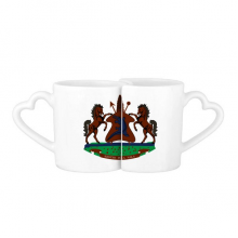 Lesotho Africa National Emblem Lovers' Mug Lover Mugs Set White Pottery Ceramic Cup Gift with Handles