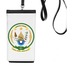 Rwanda Africa National Emblem Faux Leather Smartphone Hanging Purse Black Phone Wallet Gift