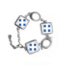 Greece Europe National Emblem Square Shape Metal Bracelet Love Gifts Jewelry With Chain Decoration