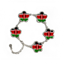 Kenya Africa National Emblem Flower Shape Metal Bracelet Chain Gifts Jewelry With Chain Decoration