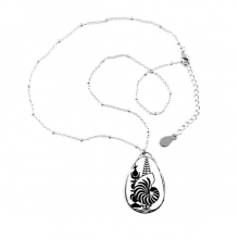 New Caledonia National Emblem Teardrop Shape Pendant Necklace Jewelry With Chain Decoration Gift