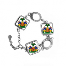 Haiti North America National Emblem Square Shape Metal Bracelet Love Gifts Jewelry With Chain Decoration