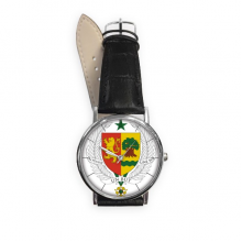 Senegal Africa National Emblem Quartz Analog Wrist Business Casual Watch with Stainless Steel Case Gift