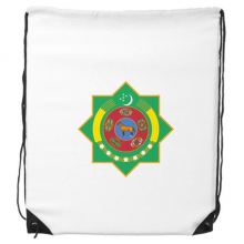 Turkmenistan Asia National Emblem Drawstring Backpack Shopping Gift Sports Bags