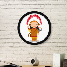 Aboriginal Tribe USA Cartoon Round Picture Frame Art Prints of Paintings Home Wall Decal Gift