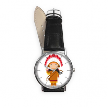 Aboriginal Tribe USA Cartoon Quartz Analog Wrist Business Casual Watch with Stainless Steel Case Gift