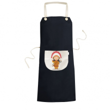 Aboriginal Tribe USA Cartoon Cooking Kitchen Black Bib Aprons With Pocket for Women Men Chef Gifts