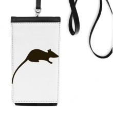 Black Mouse Animal Portrayal Faux Leather Smartphone Hanging Purse Black Phone Wallet Gift