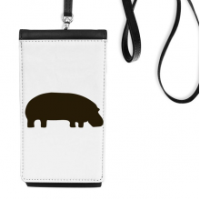 Black Hippopotamus Animal Portrayal Faux Leather Smartphone Hanging Purse Black Phone Wallet Gift
