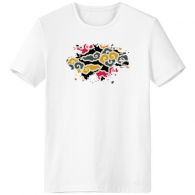 Chinese Japanese Style Asia Auspicious Clouds Pattern Paintbrush Crew-Neck White T-shirt Tagless Comfort Sports T-shirts Gift