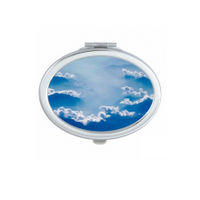 Grey Sky Fog White Clouds Oval Compact Makeup Pocket Mirror Portable Cute Small Hand Mirrors Gift