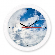 Dakr Blue Sky White Clouds Silent Non-ticking Round Wall Decorative Clock Battery-operated Clocks Gift Home Decal