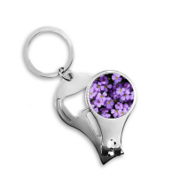 Purple Flowers Beautiful Romantic Metal Key Chain Ring Multi-function Nail Clippers Bottle Opener Car Keychain Best Charm Gift