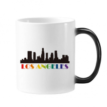 LGBT Rainbow Flag Los Angeles Morphing Heat Sensitive Changing Color Mug Cup Gift Milk Coffee With Handles 350 ml