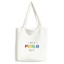 LGBT Rainbow Flag Proud Ally Environmentally Tote Canvas Bag Shopping Handbag Craft Washable