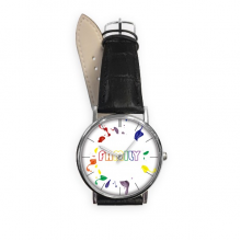 LGBT Rainbow Flag Family Quartz Analog Wrist Business Casual Watch with Stainless Steel Case Gift