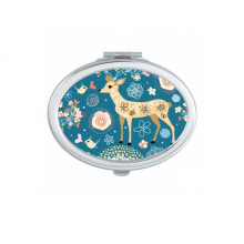 Deer Decoration Flower Blue Animal Oval Compact Makeup Pocket Mirror Portable Cute Small Hand Mirrors Gift