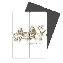 Florence Cathedral Italy Pattern Refrigerator Magnet Puzzle Home Decal Magnetic Stickers (set of 4)