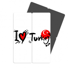 I Love Turkey Word Flag Love Heart Refrigerator Magnet Puzzle Home Decal Magnetic Stickers (set of 4)