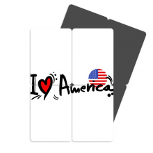 I Love America Word Flag Love Heart Refrigerator Magnet Puzzle Home Decal Magnetic Stickers (set of 4)
