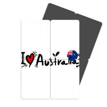 I Love Australia Word Flag Love Heart Refrigerator Magnet Puzzle Home Decal Magnetic Stickers (set of 4)