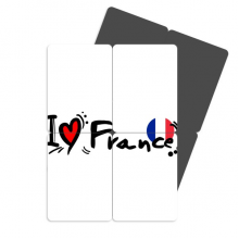 I Love France Word Flag Love Heart Refrigerator Magnet Puzzle Home Decal Magnetic Stickers (set of 4)