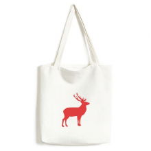 Deer Animal Red  Wood Grain Environmentally Tote Canvas Bag Shopping Handbag Craft Washable