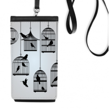 Illustration Birds Cage Silhouette Faux Leather Smartphone Hanging Purse Black Phone Wallet Gift