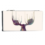 Reindeer Animal Head  Artistic Effect Colourful Multi-Card Faux Leather Rectangle Wallet Card Purse Gift