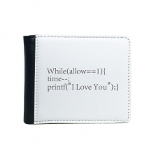 Programmer Statement Love You Flip Bifold Faux Leather Wallet  Multi-Function Card Purse Gift