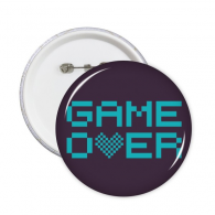 Blue Game Over Pixel Round Pins Badge Button Clothing Decoration Gift 5pcs