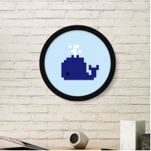 Summer Sail Blue Whale Pixel Round Picture Frame Art Prints of Paintings Home Wall Decal Gift