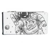 Universe Alien Monster Astronaut Multi-Card Faux Leather Rectangle Wallet Card Purse Gift