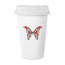 3D Butterfly in Red&Blue colour Classic Mug White Pottery Ceramic Cup Gift 350 ml
