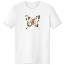 3D Chinese Butterfly Exaggerated Crew-Neck White T-shirt Spring Summer Tagless Comfort Sports T-shirts Gift