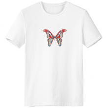 3D Butterfly in Red&Blue colour Crew-Neck White T-shirt Spring Summer Tagless Comfort Sports T-shirts Gift