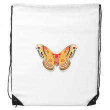3D Chinese Butterfly in Orange colour Drawstring Backpack Shopping Handbag Gift Sports Bags