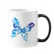 Animal Sky Blue Butterfly Fluttering Graffiti Morphing Heat Sensitive Changing Color Mug Cup Gift Milk Coffee With Handles 350 ml