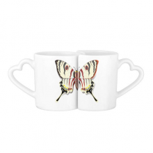 3D Chinese Butterfly Exaggerated Lovers' Mug Lover Mugs Set White Pottery Ceramic Cup Gift with Handles