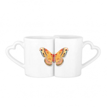 3D Chinese Butterfly in Orange colour Lovers' Mug Lover Mugs Set White Pottery Ceramic Cup Gift with Handles