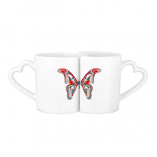 3D Butterfly in Red&Blue colour Lovers' Mug Lover Mugs Set White Pottery Ceramic Cup Gift with Handles