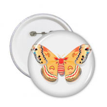 3D Chinese Butterfly in Orange colour Round Pins Badge Button Clothing Decoration Gift 5pcs