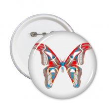 3D Butterfly in Red&Blue colour Round Pins Badge Button Clothing Decoration Gift 5pcs