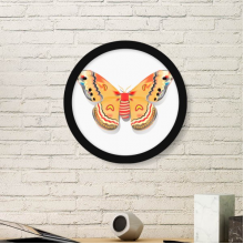 3D Chinese Butterfly in Orange colour Round Picture Frame Art Prints of Paintings Home Wall Decal Gift