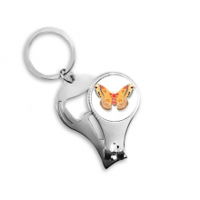 3D Chinese Butterfly in Orange colour Metal Key Chain Ring Multi-function Nail Clippers Bottle Opener Car Keychain Best Charm Gift