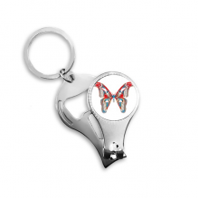 3D Butterfly in Red&Blue colour Metal Key Chain Ring Multi-function Nail Clippers Bottle Opener Car Keychain Best Charm Gift