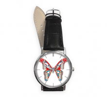 3D Butterfly in Red&Blue colour Quartz Analog Wrist Business Casual Watch with Stainless Steel Case Gift